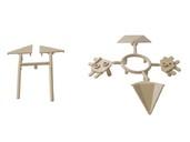 Комплект соединителей треугольного пристеночного бортика ALPHALUX (6 частей), пластик, бежевый фото
