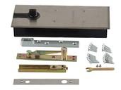 Фото - Напольный доводчик Elementis с фиксатором, комплект для алюминиевой двери 800 мм (до 80 кг) комплект креплений elementis для синхронного открывания сдвижных дверей вес двери до 50 кг