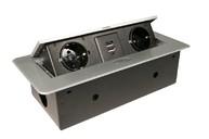Выдвижной блок розеток 266х130х68мм, серебристый, 2 розетки EURO + 2USB, 250V, 2.7kW фото